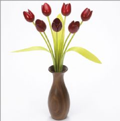 7 red Tulips with 3 green leaves with Walnut 'classic' vase